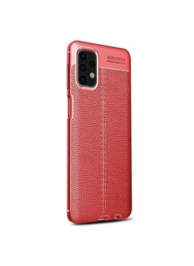 Microsonic Samsung Galaxy A32 4G Kılıf Deri Dokulu Silikon Kırmızı Kırmızı